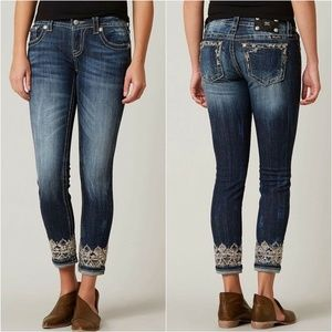 Miss Me Jeans Signature Cuffed Skinny Embroidered
